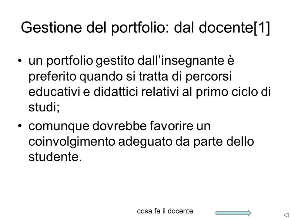 Gestione del portfolio: dal docente[1]
